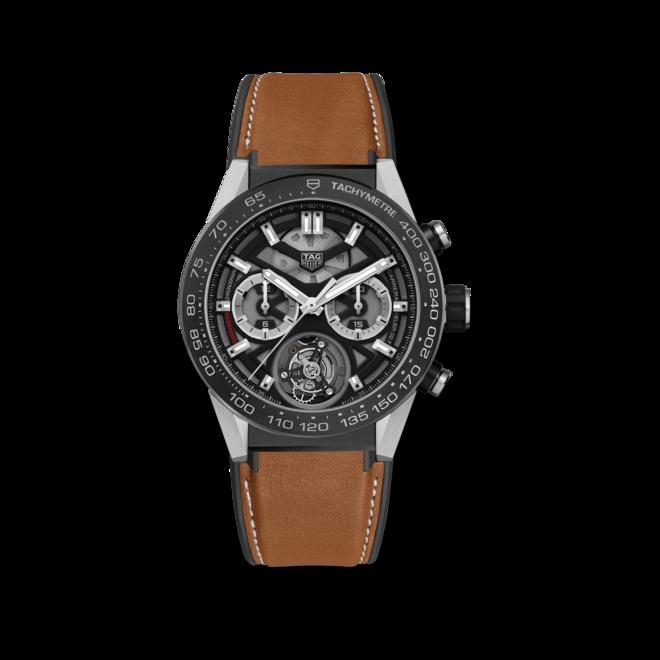 Herrenuhr TAG Heuer Carrera Heuer 02 Tourbillon Chronograph 45mm mit schwarzem Zifferblatt und Kalbsleder-Armband bei Brogle
