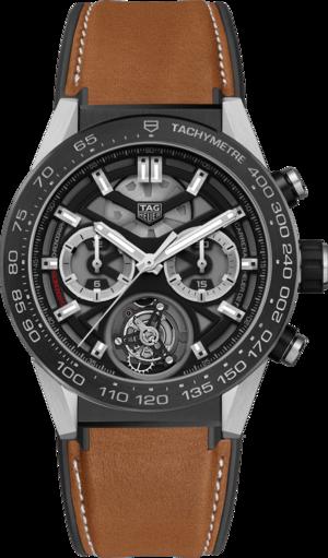 Herrenuhr TAG Heuer Carrera Heuer 02 Tourbillon Chronograph 45mm mit schwarzem Zifferblatt und Kalbsleder-Armband