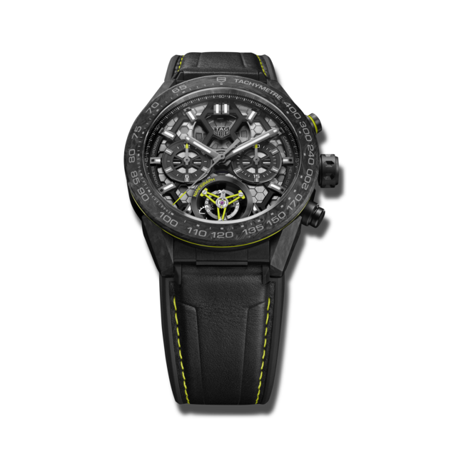Herrenuhr TAG Heuer Carrera Heuer 02 Tourbillon Nanograph 45mm mit schwarzem Zifferblatt und Kalbsleder-Armband bei Brogle