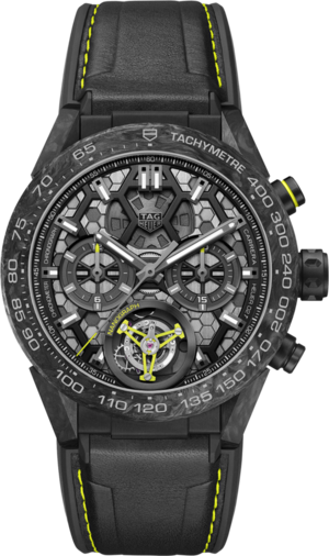 Herrenuhr TAG Heuer Carrera Heuer 02 Tourbillon Nanograph 45mm mit schwarzem Zifferblatt und Kalbsleder-Armband