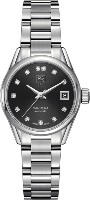 Damenuhr TAG Heuer Carrera Lady Automatic 28mm mit schwarzem Zifferblatt und Edelstahlarmband