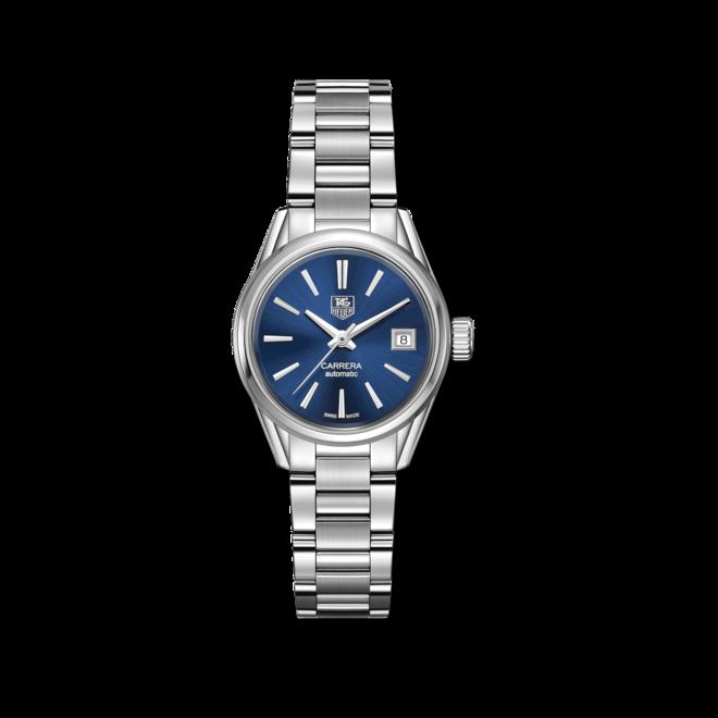 Damenuhr TAG Heuer Carrera Lady Automatic 28mm mit blauem Zifferblatt und Edelstahlarmband bei Brogle