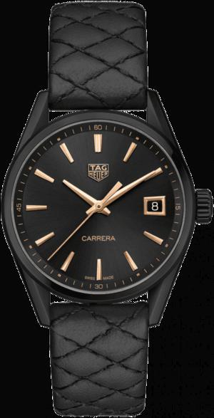 Damenuhr TAG Heuer Carrera Quarz 36mm mit schwarzem Zifferblatt und Rindsleder-Armband