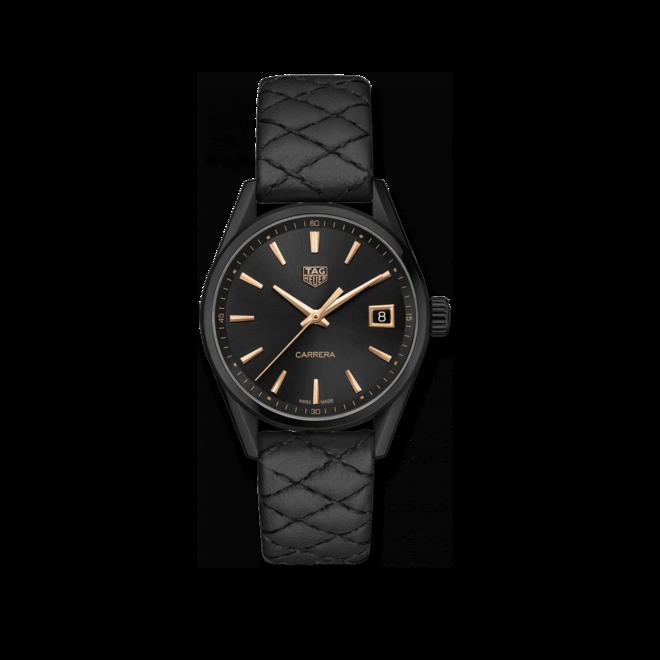 Damenuhr TAG Heuer Carrera Quarz 36mm mit schwarzem Zifferblatt und Rindsleder-Armband bei Brogle