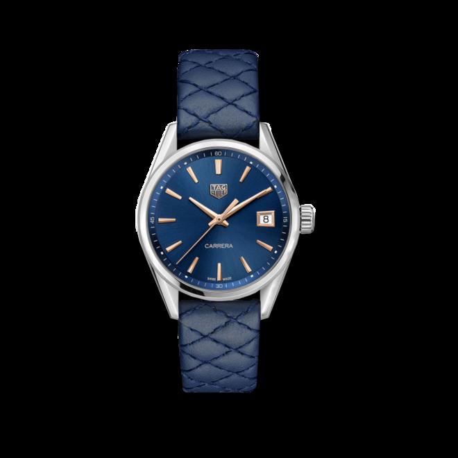 Damenuhr TAG Heuer Carrera Quarz 36mm mit blauem Zifferblatt und Rindsleder-Armband bei Brogle