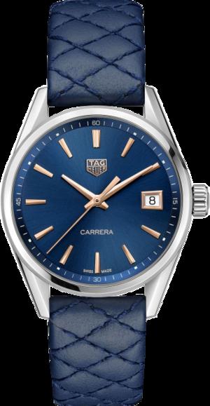 Damenuhr TAG Heuer Carrera Quarz 36mm mit blauem Zifferblatt und Rindsleder-Armband