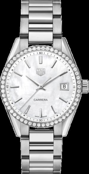 Damenuhr TAG Heuer Carrera Quarz 36mm mit Diamanten, perlmuttfarbenem Zifferblatt und Edelstahlarmband
