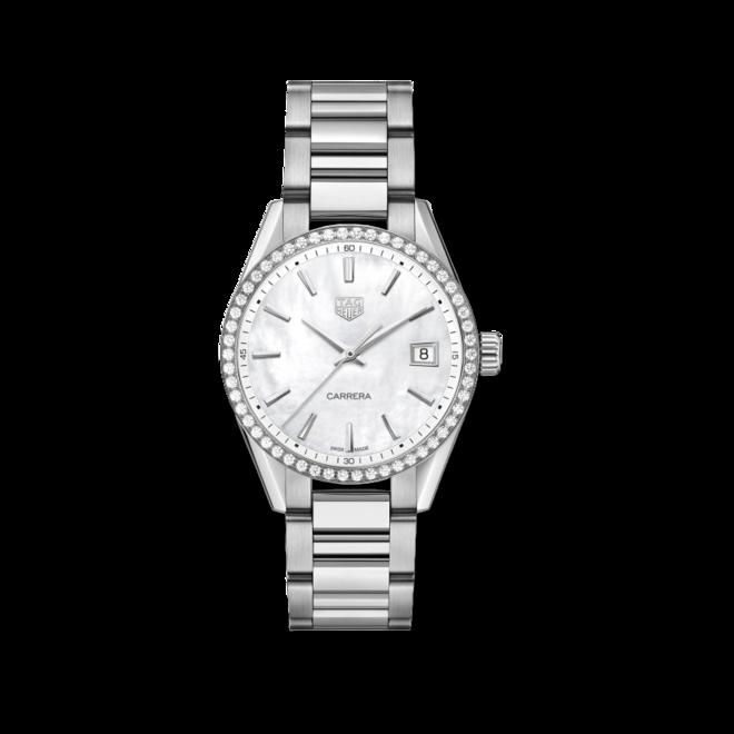 Damenuhr TAG Heuer Carrera Quarz 36mm mit Diamanten, perlmuttfarbenem Zifferblatt und Edelstahlarmband bei Brogle