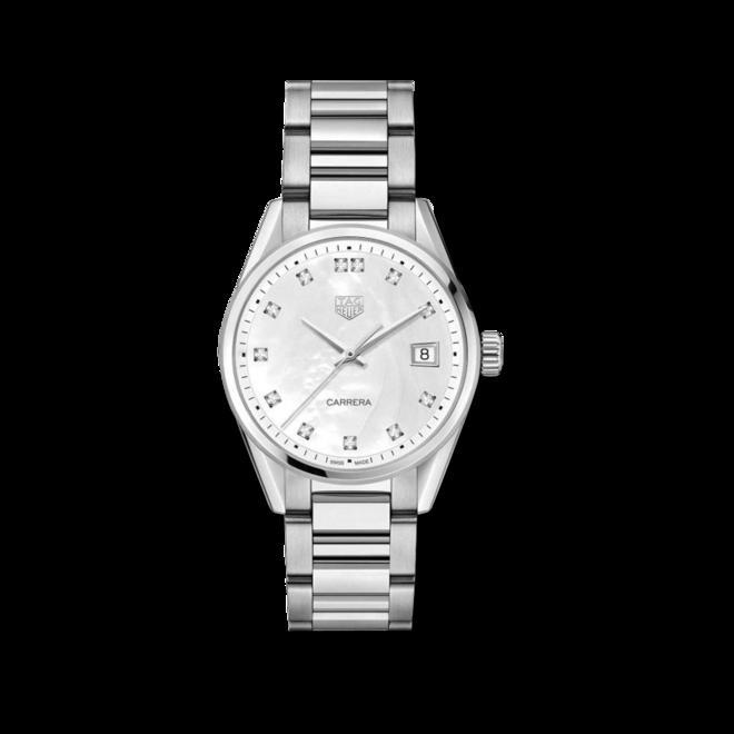 Damenuhr TAG Heuer Tag Heuer Carrera Lady 36mm Quarz mit Diamanten, perlmuttfarbenem Zifferblatt und Edelstahlarmband bei Brogle