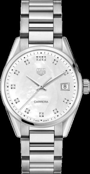 Damenuhr TAG Heuer Tag Heuer Carrera Lady 36mm Quarz mit Diamanten, perlmuttfarbenem Zifferblatt und Edelstahlarmband