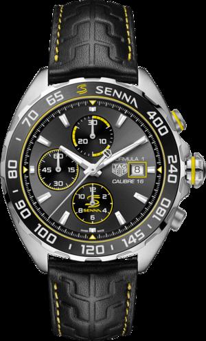 Herrenuhr TAG Heuer Formula 1 Automatic Chronograph 44mm, Senna Spezial Edition mit anthrazitfarbenem Zifferblatt und Kalbsleder-Armband