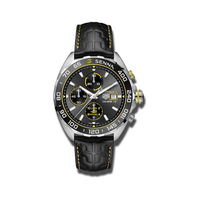 Herrenuhr TAG Heuer Formula 1 Automatic Chronograph 44mm, Senna Spezial Edition mit anthrazitfarbenem Zifferblatt und Kalbsleder-Armband bei Brogle