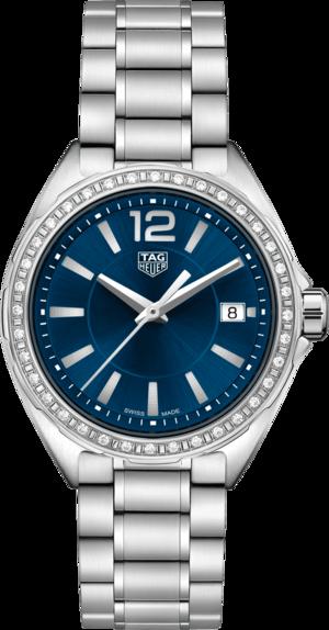 Damenuhr TAG Heuer Formula 1 Quartz 35mm mit Diamanten, blauem Zifferblatt und Edelstahlarmband