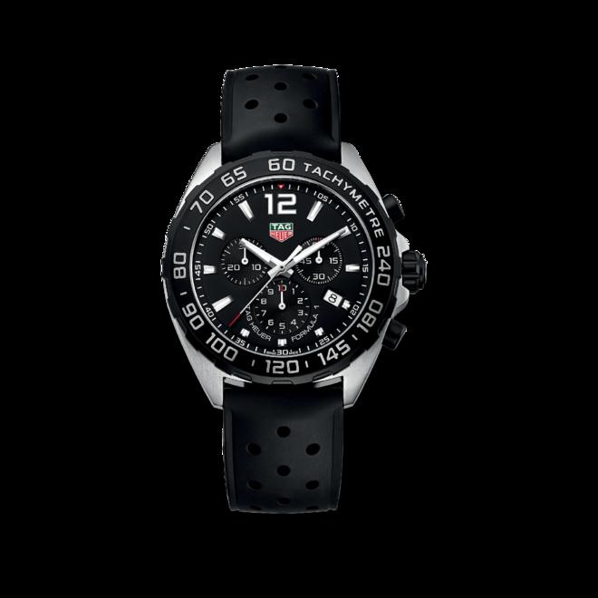 Herrenuhr TAG Heuer Formula 1 Quartz Chronograph 43mm mit schwarzem Zifferblatt und Kautschukarmband bei Brogle