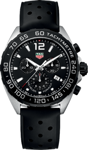 Herrenuhr TAG Heuer Formula 1 Quartz Chronograph 43mm mit schwarzem Zifferblatt und Kautschukarmband