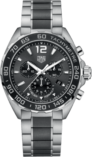 Herrenuhr TAG Heuer Formula 1 Quartz Chronograph 43mm mit anthrazitfarbenem Zifferblatt und Edelstahlarmband