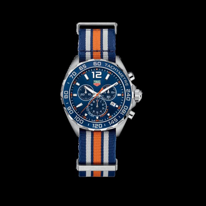 Herrenuhr TAG Heuer Formula 1 Quartz Chronograph 43mm mit blauem Zifferblatt und Textilarmband bei Brogle