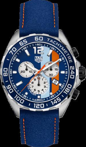 Herrenuhr TAG Heuer Formula 1 Quartz Chronograph Gulf mit mehrfarbigem Zifferblatt und Kalbsleder-Armband