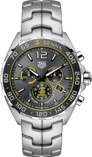 Herrenuhr TAG Heuer Formula 1 Quarz Chronograph 43mm, Senna Spezial Edition mit anthrazitfarbenem Zifferblatt und Edelstahlarmband