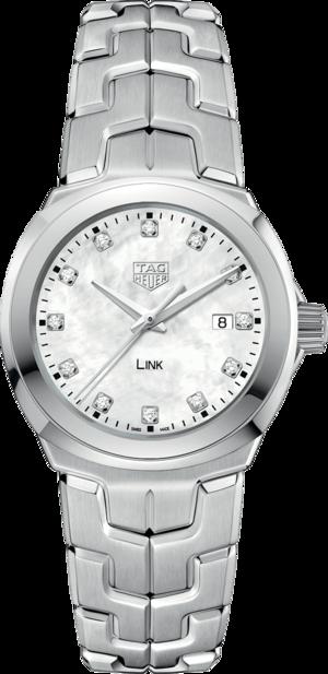 Damenuhr TAG Heuer Link Quartz 32mm mit Diamanten, weißem Zifferblatt und Edelstahlarmband
