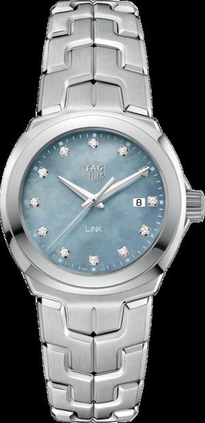 Damenuhr TAG Heuer Link Quartz 32mm mit Diamanten, grauem Zifferblatt und Edelstahlarmband