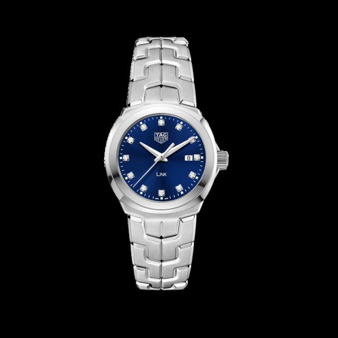 Damenuhr TAG Heuer Link Quartz 32mm mit Diamanten, blauem Zifferblatt und Edelstahlarmband bei Brogle
