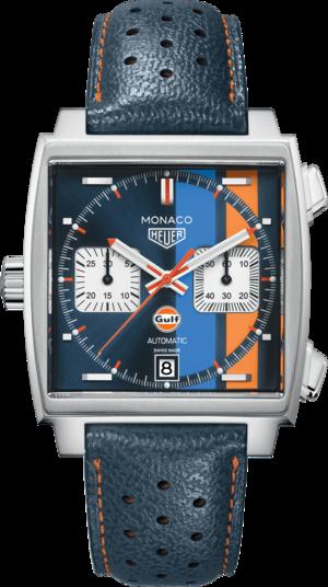 Herrenuhr TAG Heuer Monaco Calibre 11 Special Edition Gulf Chronograph mit mehrfarbigem Zifferblatt und Kalbsleder-Armband