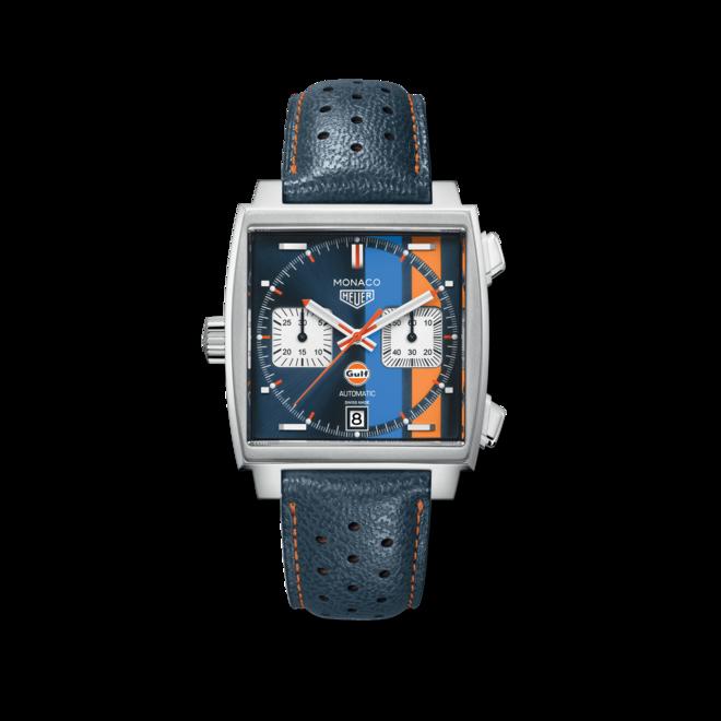 Herrenuhr TAG Heuer Monaco Calibre 11 Special Edition Gulf Chronograph mit mehrfarbigem Zifferblatt und Kalbsleder-Armband bei Brogle