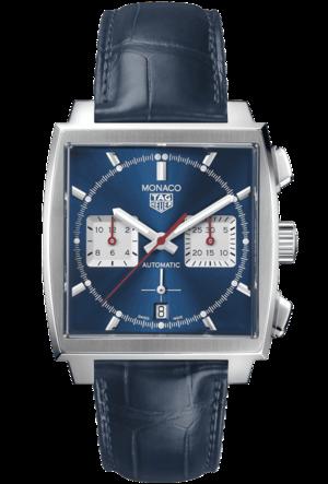Herrenuhr TAG Heuer Monaco Calibre Heuer02 Chronograph mit blauem Zifferblatt und Alligatorenleder-Armband