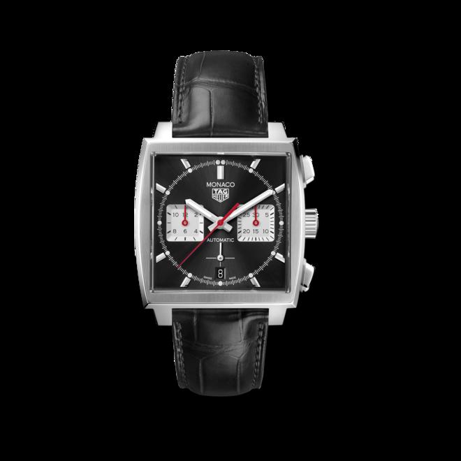 Herrenuhr TAG Heuer Monaco Calibre Heuer02 Chronograph mit schwarzem Zifferblatt und Alligatorenleder-Armband bei Brogle