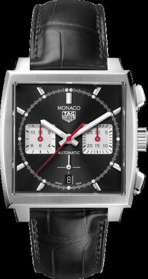 Herrenuhr TAG Heuer Monaco Calibre Heuer02 Chronograph mit schwarzem Zifferblatt und Alligatorenleder-Armband
