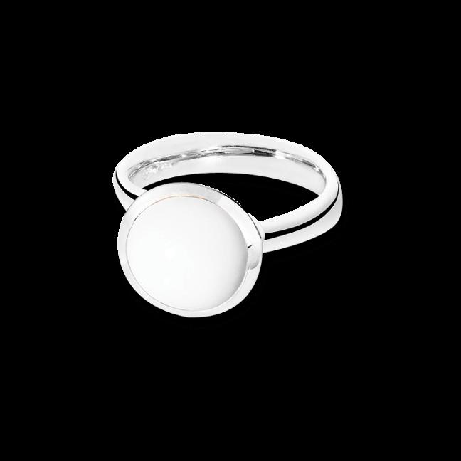 Ring Tamara Comolli Bouton Cacholong L aus 750 Weißgold mit 1 Cacholong