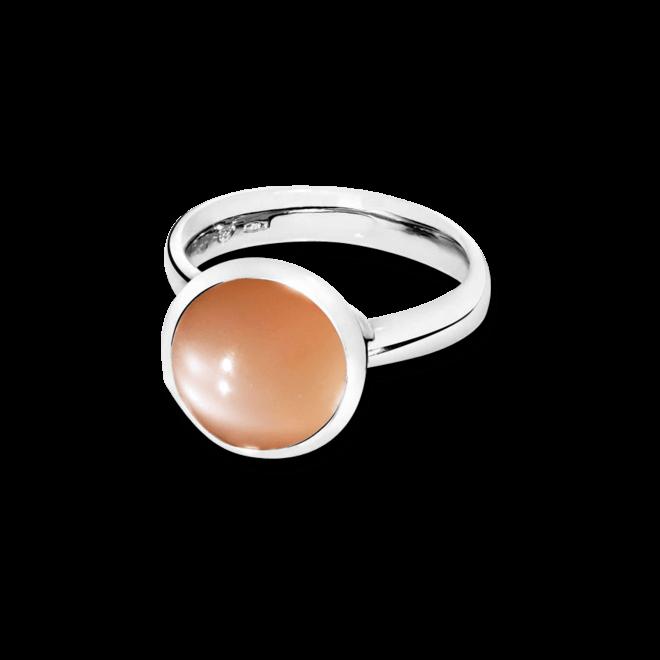 Ring Tamara Comolli Bouton L Brauner Mondstein aus 750 Weißgold mit 1 Mondstein