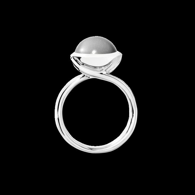 Ring Tamara Comolli Bouton L Grauer Mondstein aus 750 Weißgold mit 1 Mondstein
