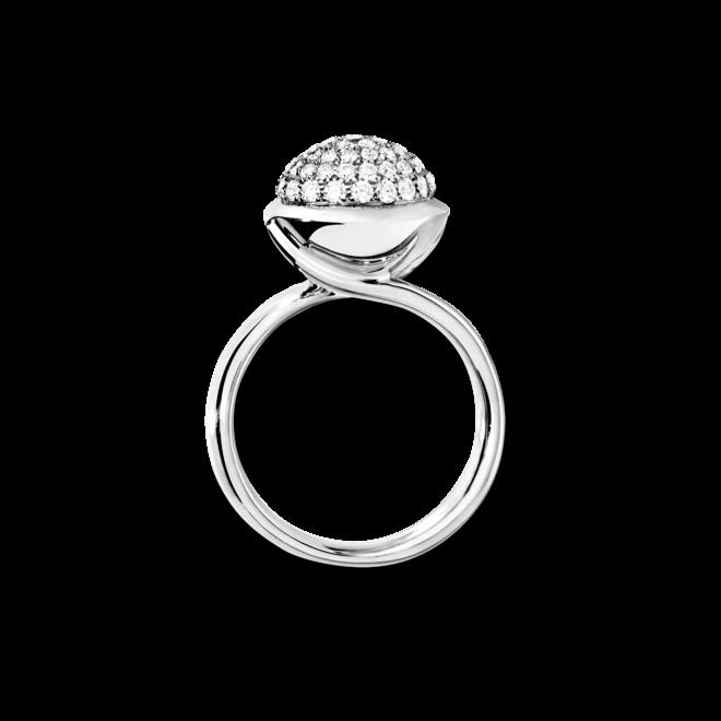 Ring Tamara Comolli Bouton L Pavé aus 750 Weißgold mit mehreren Brillanten (0,75 Karat)