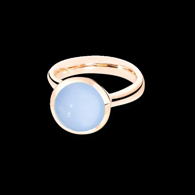 Ring Tamara Comolli Bouton Large Blauer Chalcedon aus 750 Roségold mit 1 Chalcedon