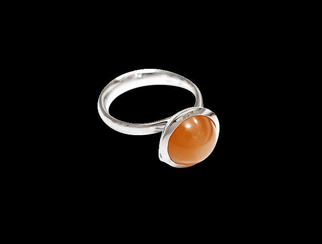 Ring Tamara Comolli Bouton Large Caramel Mondstein aus 750 Weißgold mit 1 Mondstein