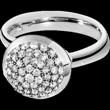 Tamara Comolli Ring Bouton Large Diamant Pavé R-BOU-L-P-WG