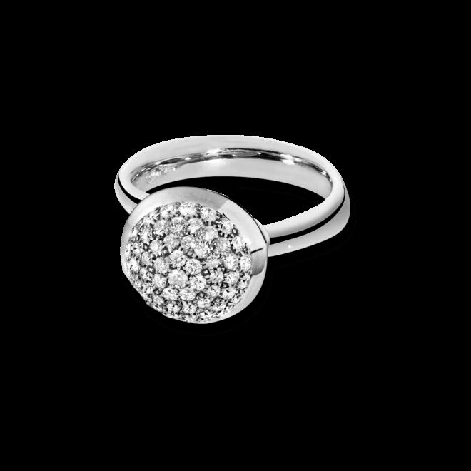 Ring Tamara Comolli Bouton Large Diamant Pavé aus 750 Weißgold mit mehreren Brillanten (0,75 Karat)