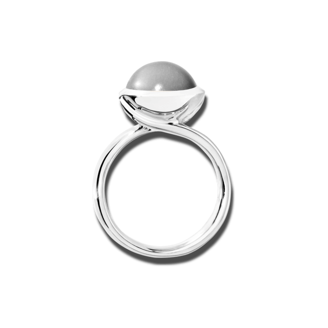 Ring Tamara Comolli Bouton Large Grauer Mondstein aus 750 Weißgold mit 1 Mondstein