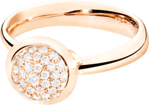 Ring Tamara Comolli Bouton Pavé S aus 750 Roségold mit mehreren Brillanten (0,35 Karat)