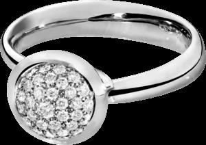 Ring Tamara Comolli Bouton Pavé S aus 750 Weißgold mit mehreren Brillanten (0,35 Karat)