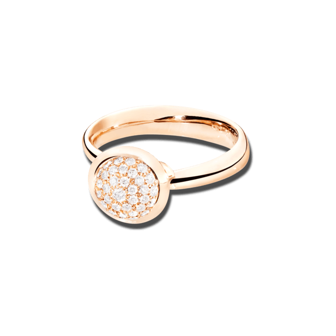 Ring Tamara Comolli Bouton S Pavé aus 750 Roségold mit mehreren Brillanten (0,35 Karat)