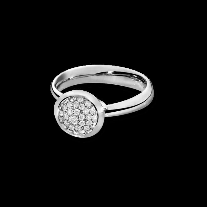 Ring Tamara Comolli Bouton S Pavé aus 750 Weißgold mit mehreren Brillanten (0,35 Karat)