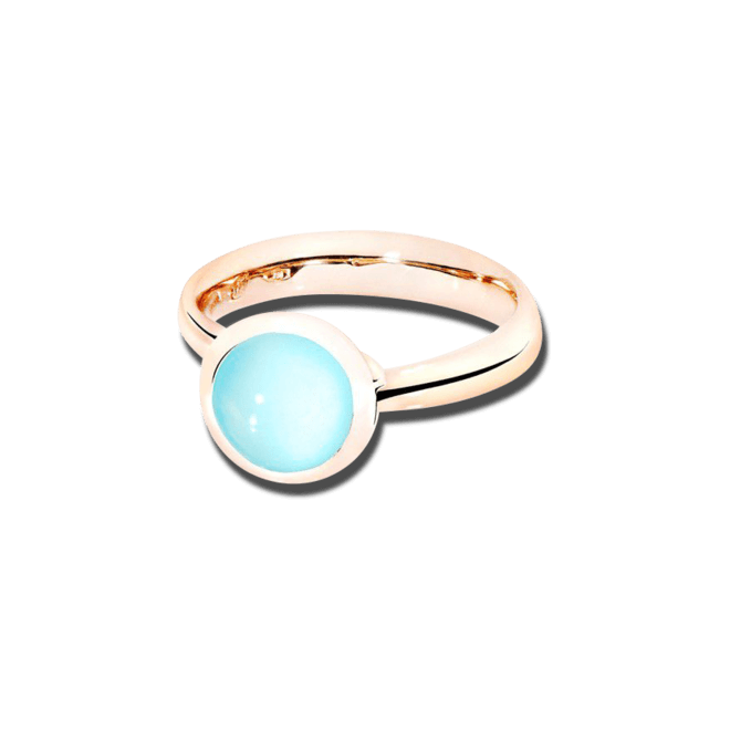 Ring Tamara Comolli Bouton Small Aqua Chalcedon aus 750 Roségold mit 1 Chalcedon