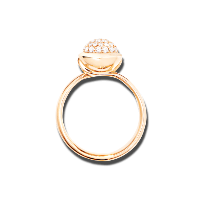 Ring Tamara Comolli Bouton Small Diamant Pavé aus 750 Roségold mit mehreren Brillanten (0,35 Karat)