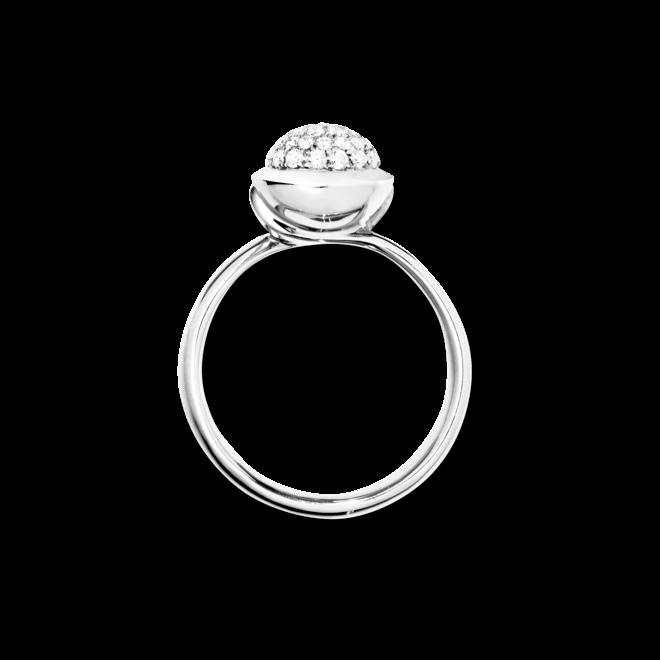 Ring Tamara Comolli Bouton Small Diamant Pavé aus 750 Weißgold mit mehreren Brillanten (0,35 Karat)