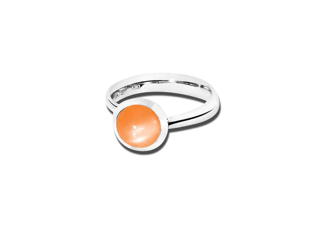Ring Tamara Comolli Bouton Small Mondstein Orange aus 750 Weißgold mit 1 Mondstein