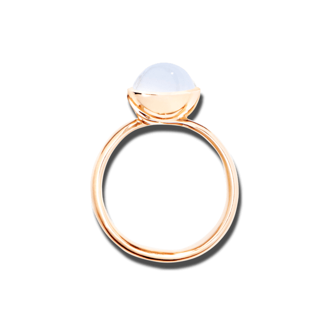 Ring Tamara Comolli Bouton Small Rainbow Mondstein aus 750 Roségold mit 1 Mondstein