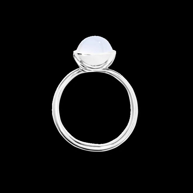 Ring Tamara Comolli Bouton Small Rainbow Mondstein aus 750 Weißgold mit 1 Mondstein